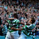 Celtic's Moussa Dembele (centre) is celebrates with his team mates after scoring the first goal of the game during the Ladbrokes Scottish Premiership match at Celtic Park. Pic Andrew Milligan/PA Wire