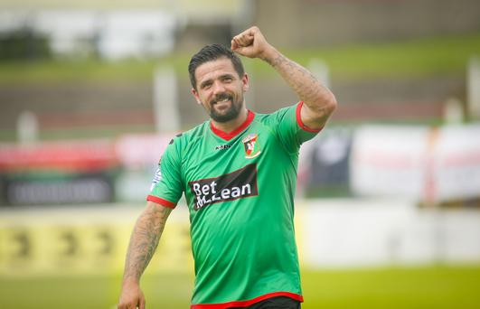 Glentoran's Nacho Novo in action. Photo by Kevin Scott / Presseye )