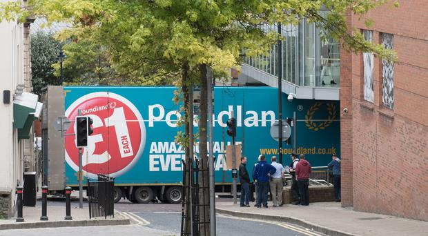 The scene in Derry where a lorry making a delivery to Poundland crashed into Foyleside Shopping Centre. Picture Martin McKeown. Inpresspics.com. 11.09.16