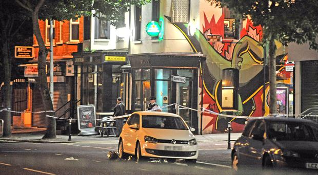 The scene of a 'Hit & Run' incident at the Wellesley Avenue junction with the Lisburn Road in south Belfast late on Saturday night. Alan Lewis- PhotopressBelfast.co.uk