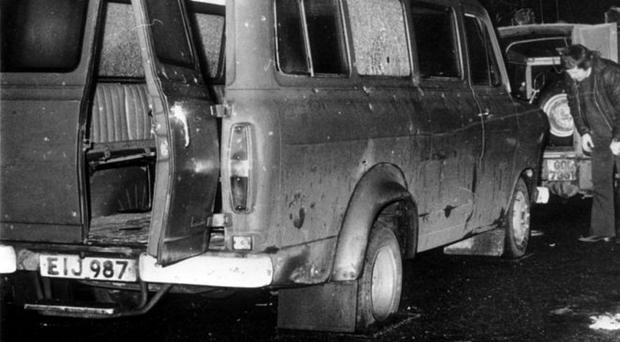 The bullet strewn van which was ambushed by an IRA murder gang in Kingsmills in 1976. The attack left 10 Protestant workmen dead. One man survived, while another, a Catholic, was freed before the massacre began