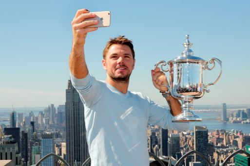 Room with a view: Stan Wawrinka takes a selfie at the 'Top of the Rock' at New York's Rockefeller Center yesterday