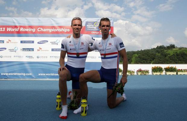 Brothers in arms: Richard Chambers (right) with brother Peter after World bronze