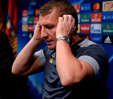Hear we go: Celtic boss Brendan Rodgers faces media ahead of tonight's game in Barcelona