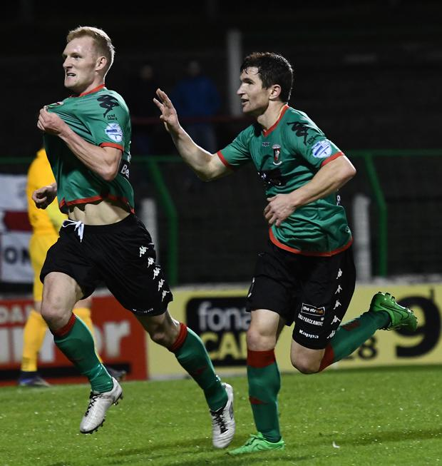 Super sub: Substitute Stevie Gordon celebrates scoring Glentoran's late equaliser at The Oval last night