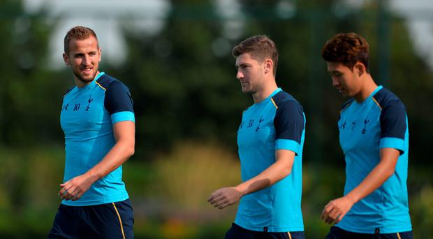 Gearing up: Harry Kane, Ben Davies and Son Heung-Min have been training on a pitch with the same dimensions as at Wembley