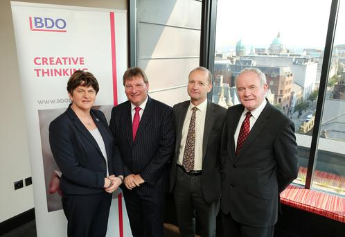 First Minister, Arlene Foster and deputy First Minister, Martin McGuinness today announced an expansion in Belfast by accountancy and business advisory firm BDO creating up to 43 new jobs over the next three years. Photo by Kelvin Boyes / Press Eye