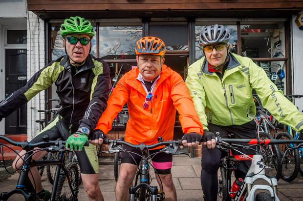 Adam Williams (James Nesbitt), Pete Gifford (John Thomson) and David Marsden (Robert Bathurst) get on their bikes for the new episode of Cold Feet. Pic Big Talk Productions/ITV