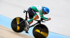 Ireland's Eoghan Clifford competes in the Men's C3 3000m Individual Pursuit Qualifying at The Rio Olympic Velodrome during the second day of the 2016 Rio Paralympic Games in Rio de Janeiro, Brazil. PA