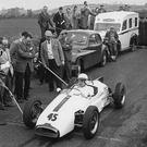 Master class: Rally legend Paddy Hopkirk prepares to start Knockagh hillclimb iin a single-seater Elva in 1962