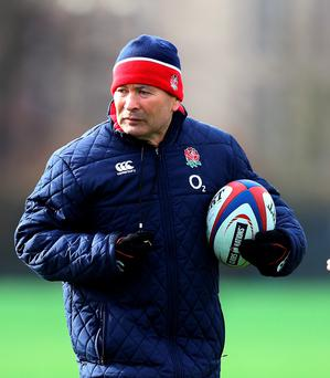 Dropping in: Eddie Jones had a chat with the Saints squad