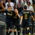 Main man: Radamel Falcao and Joao Moutinho celebrate with Bernardo Silva (centre)