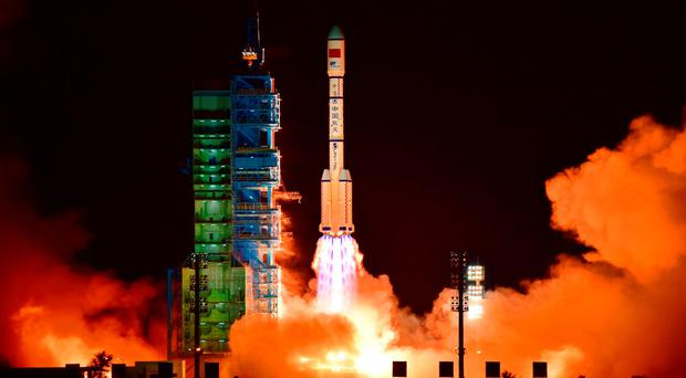 China's Tiangong 2 space lab is launched on a Long March-2F rocket from the Jiuquan Satellite Launch Center in the Gobi Desert, in China's Gansu province, on September 15, 2016. AFP/Getty Images