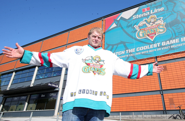 History boy: Rob Stewart outside the SSE Arena ahead of the Giants' massive weekend