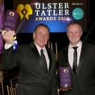 Class acts: Gerry Armstrong (left) picked up the Lifetime Achievement award and Northern Ireland manager Michael O'Neill and his team were also honoured at the Ulster Tatler Awards bash in Belfast City Hall