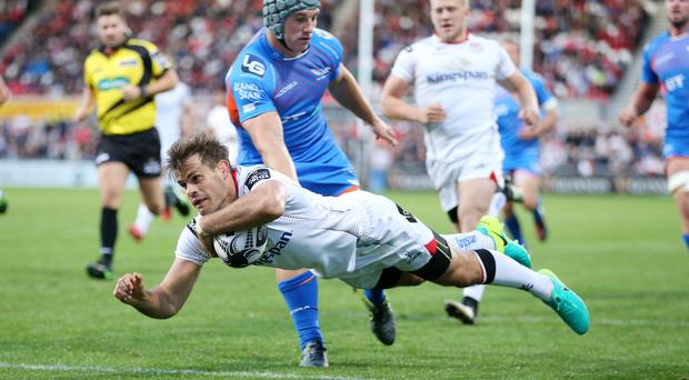 Ulster v Scarlets at Kingspan Stadium, Belfast. Louis Ludik goes over in the corner for an Ulster try
