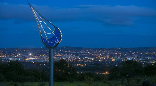 Belfast's newest and highest positioned sculpture was illuminated for the first time this evening, Friday, 16 September. Picture by Brian Morrison