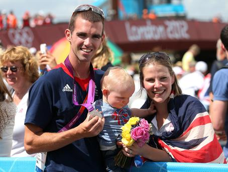 Family focus: Richard Chambers with wife Abigail and son Joshua after winning silver at the London Olympics in 2012