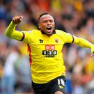 WATFORD, ENGLAND - SEPTEMBER 18: Juan Camilo Zuniga of Watford celebrates scoring his sides second goal with his team mates during the Premier League match between Watford and Manchester United at Vicarage Road on September 18, 2016 in Watford, England. (Photo by Richard Heathcote/Getty Images)