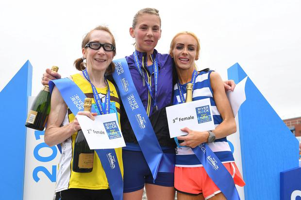 Leading ladies: winner Laura Graham (centre), second placed Louise Smith (left), and third Amy Bulman
