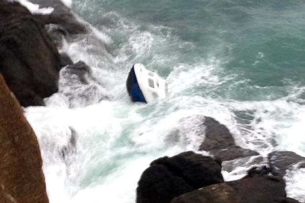 The boat submerged at Ramore Head, Portrush.