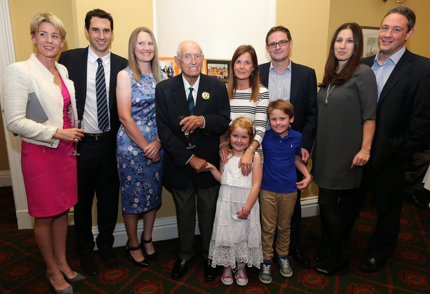 Special night: Des Simon pictured at his 100th birthday party in Belfast Castle with grand children and great grand children