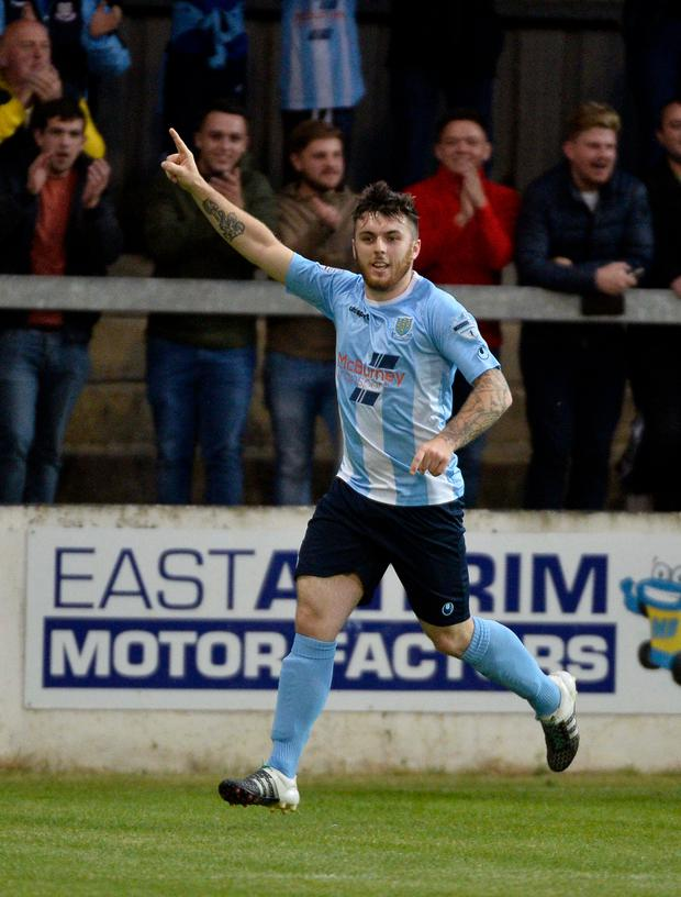 On target: Cathair Friel continued his hot scoring streak for Ballymena