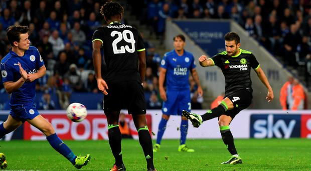 Gas blast: Fabregas fires Chelsea's extra time insurance goal at Leicester