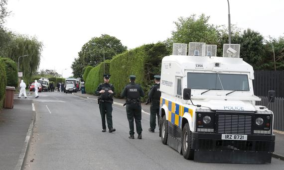Searches Lurgan. Photograph by Declan Roughan Press Eye
