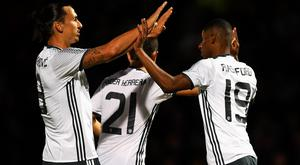 Marcus Rashford of Manchester United celebrates scoring his sides third goal with Zlatan Ibrahimovic of Manchester United during the EFL Cup Third Round match between Northampton Town and Manchester United at Sixfields on September 21, 2016 in Northampton, England. (Photo by Laurence Griffiths/Getty Images)