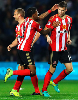 Nice one: Paddy McNair after the first of his Sunderland double