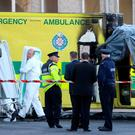 The scene at Naas General Hospital in Co KIldare after a patient died and a medic was injured after an ambulance burst into flames. PA