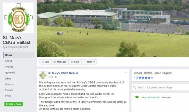 St Mary's CBGS paid tribute on Facebook