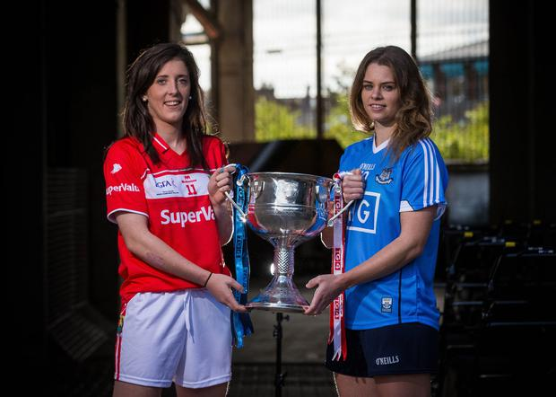 Head to head: Cork's Ciara O'Sullivan (left) and Noelle Healy of Dublin