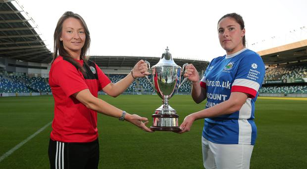 Silver lining: Cliftonville Ladies captain Tiarna McKenna and her counterpart, Sarah Venney, hope to get their hands on the Irish Cup tonight