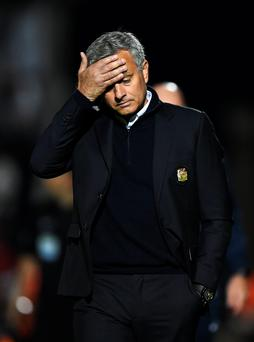 Feeling the strain: Manchester United boss Jose Mourinho has not been his old self in front of the cameras recently