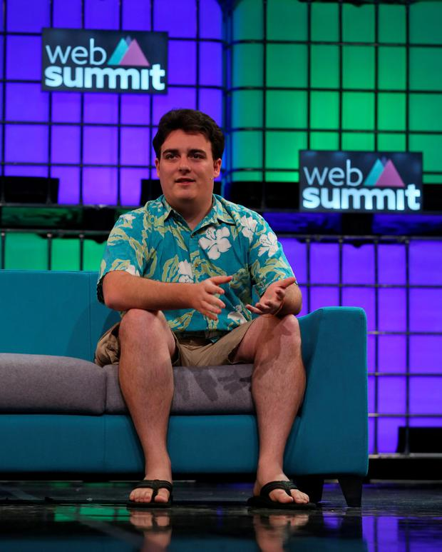 Palmer Luckey, founder of Oculus VR, speaking at the Web Summit at the RDS in Dublin. PA