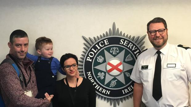 Assistant Chief Constable Stephen Martin welcoming @GardaCeejay and family to PSNI HQ.