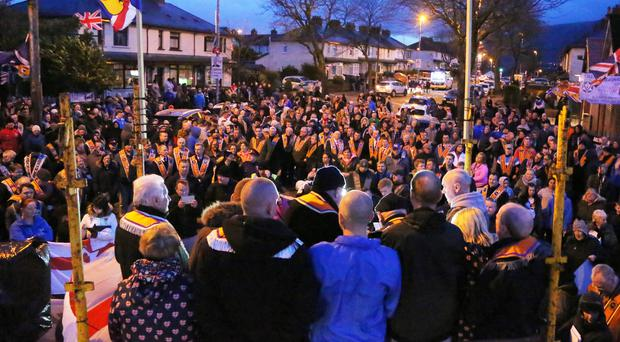 Members of the Orange Order at the height of the Twaddell Avenue dispute