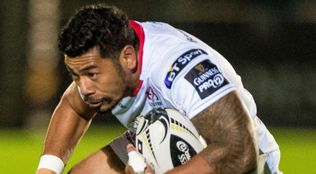 Tough to stop: Rodney Ah You of Ulster breaks during the Guinness PRO12 tie between Glasgow Warriors and Ulster Rugby at Scotstoun Stadium