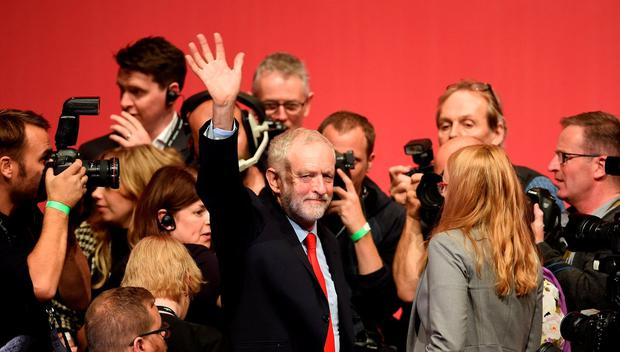 Jeremy Corbyn celebrates his victory following the announcement of the winner in the Labour leadership contest between him and Owen Smith at the ACC Liverpool. PRESS ASSOCIATION Photo. Picture date: Saturday September 24, 2016. See PA story LABOUR Main. Photo credit should read: Joe Giddens/PA Wire
