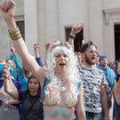 A 'splashmob' protest lead by theatrical protest group BP or not BP? inside the British Museum, central London, in response to BP's controversial sponsorship of the museum's current 'Sunken Cities' exhibition. Rick Findler/PA Wire