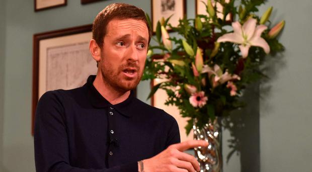 I'm innocent: Sir Bradley Wiggins makes his point during an interview for the BBC's Andrew Marr Show