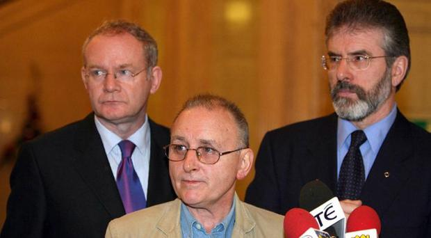 Gerry Adams with Martin McGuinness and former spy Denis Donaldson
