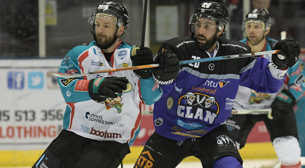 Ice cool: Colin Shields takes on the Braehead Clan last night. Picture by Al Goold
