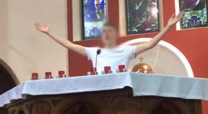Footage of the teen at the altar