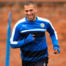 Goalscorer: Islam Slimani warms up yesterday for Leicester City's battle with Porto