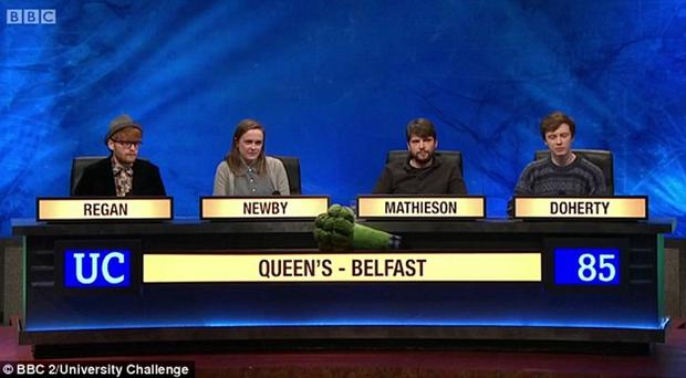 The Queen's team beaten in the first round of the BBC2 quiz University Challengebrows