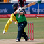 Tough task: Ireland's batsman Paul Stirling plays a shot during yesterday's defeat to Australia in South Africa