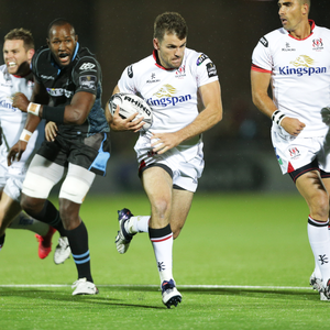 Breakthrough: Ulster's Jared Payne goes on a run against Glasgow Warriors at Scotstoun
